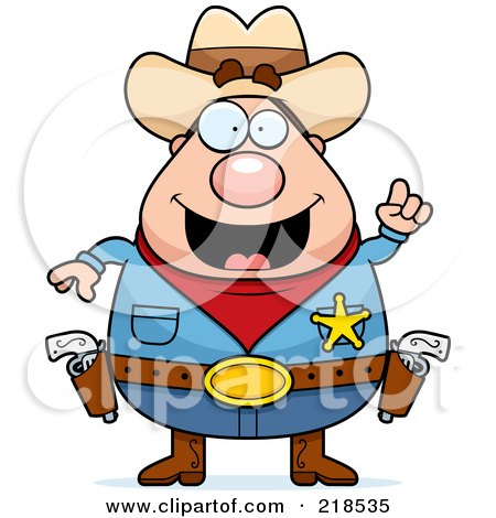 Royalty-Free (RF) Clipart Illustration of a Plump Sheriff With An Idea by Cory Thoman