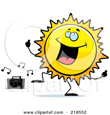 Royalty-Free (RF) Clipart Illustration of a Happy Sun Character Dancing To Music by Cory Thoman