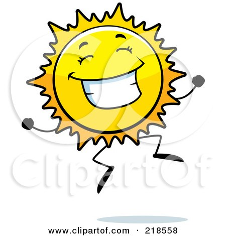 Royalty-Free (RF) Clipart Illustration of a Happy Sun Character Jumping by Cory Thoman