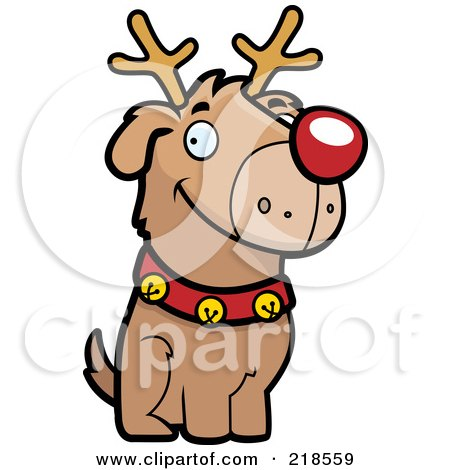 Royalty-Free (RF) Clipart Illustration of a Reindeer Dog Sitting by Cory Thoman