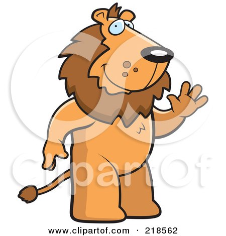 Royalty-Free (RF) Clipart Illustration of a Friendly Lion Standing And Waving by Cory Thoman