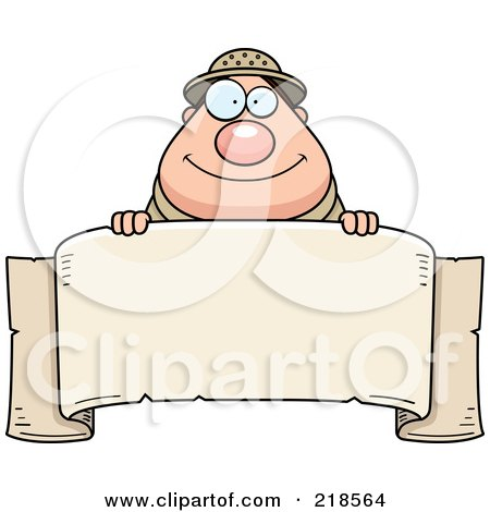 Royalty-Free (RF) Clipart Illustration of a Plump Safari Man Over A Blank Banner by Cory Thoman