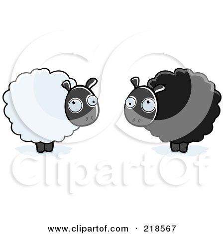 Royalty-Free (RF) Clipart Illustration of a Digital Collage Of Fluffy White And Black Sheep by Cory Thoman