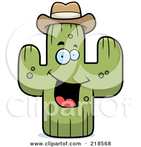 Royalty-Free (RF) Clipart Illustration of a Happy Cactus Wearing A Hat by Cory Thoman