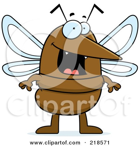 Royalty-Free (RF) Clipart Illustration of a Happy Mosquito Standing by Cory Thoman