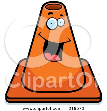 Royalty-Free (RF) Clipart Illustration of a Happy Construction Cone Smiling by Cory Thoman
