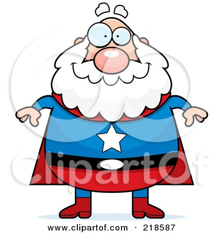 Royalty-Free (RF) Clipart Illustration of a Plump Old Super Hero by Cory Thoman