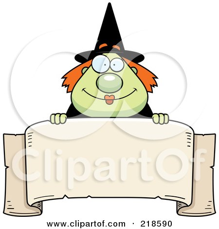 Royalty-Free (RF) Clipart Illustration of a Plump Green Witch Looking Over A Blank Banner by Cory Thoman