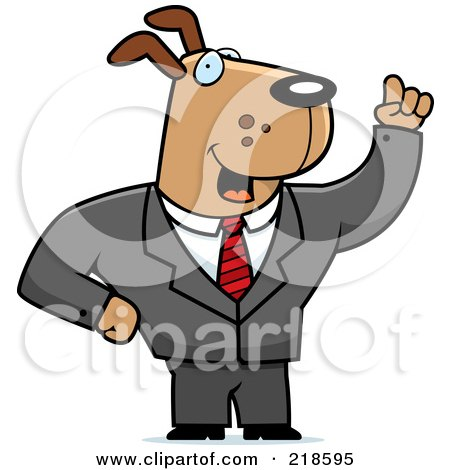 Royalty-Free (RF) Clipart Illustration of a Business Dog With An Idea by Cory Thoman