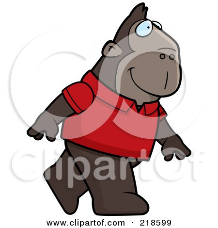Royalty-Free (RF) Clipart Illustration of an Ape Wearing A Red Shirt And Walking Upright by Cory Thoman