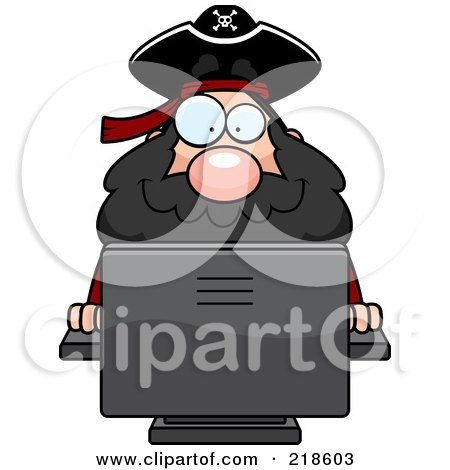 Royalty-Free (RF) Clipart Illustration of a Plump Pirate Using A Desktop Computer by Cory Thoman