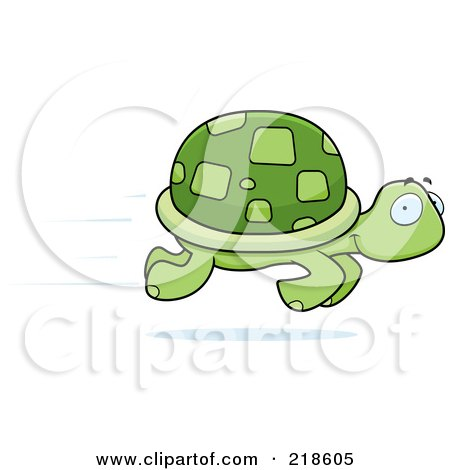 Royalty-Free (RF) Clipart Illustration of a Fast Turtle Speeding By by Cory Thoman
