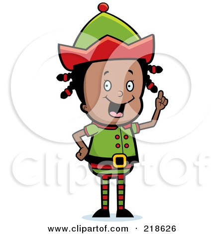 Royalty-Free (RF) Clipart Illustration of a Black Christmas Elf Girl With An Idea by Cory Thoman