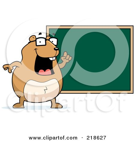 Royalty-Free (RF) Clipart Illustration of a Hamster Teacher By A Chalk Board by Cory Thoman