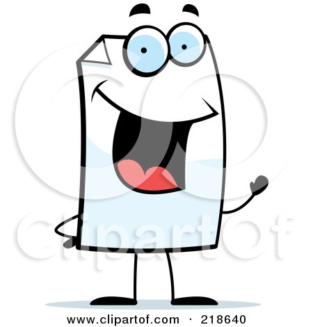 Royalty-Free (RF) Clipart Illustration of a Happy Paper Character Waving by Cory Thoman