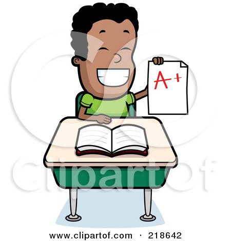 Royalty-Free (RF) Clipart Illustration of a Happy Black Boy Holding Up An A Plus Report Card At His Desk by Cory Thoman