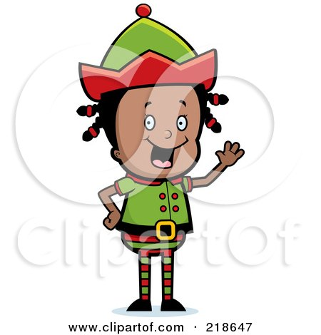 Royalty-Free (RF) Clipart Illustration of a Black Christmas Elf Girl Waving by Cory Thoman