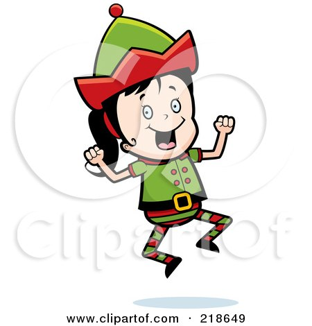 Royalty-Free (RF) Clipart Illustration of a Christmas Elf Girl Jumping by Cory Thoman