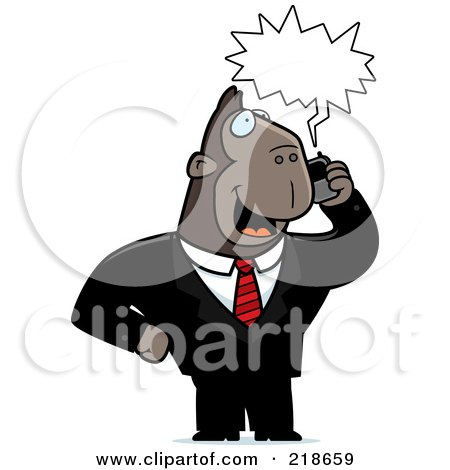 Royalty-Free (RF) Clipart Illustration of a Business Ape Using A Cell Phone by Cory Thoman