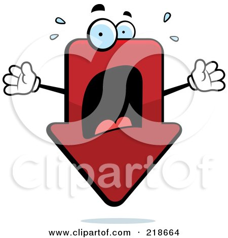 Royalty-Free (RF) Clipart Illustration of a Panicked Red Arrow Freaking Out by Cory Thoman