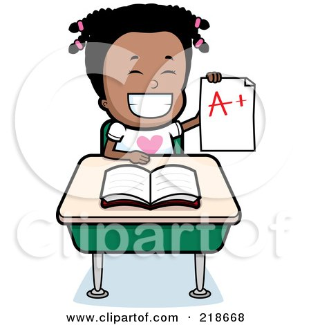 Royalty-Free (RF) Clipart Illustration of a Happy Black Girl Holding An A Plus Report Card At Her Desk by Cory Thoman