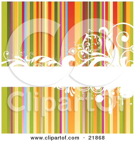 Horizontal Blank White Bar With Elegant Scrolls And Vines Over A Rainbow Striped Background Posters, Art Prints
