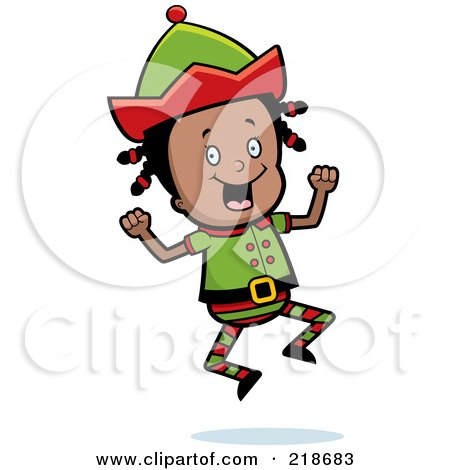 Royalty-Free (RF) Clipart Illustration of a Black Christmas Elf Girl Jumping by Cory Thoman