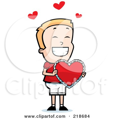 Royalty-Free (RF) Clipart Illustration of a Happy Blond Boy Holding A Heart Valentine by Cory Thoman