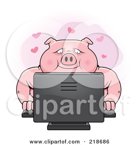 Royalty-Free (RF) Clipart Illustration of a Chubby Pig Using A Desktop Computer by Cory Thoman