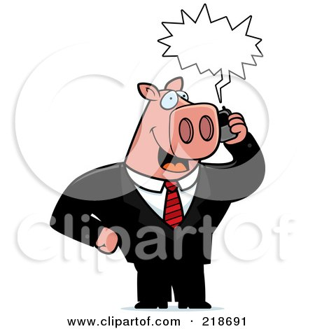 Royalty-Free (RF) Clipart Illustration of a Business Pig Using A Cell Phone by Cory Thoman