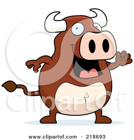 Royalty-Free (RF) Clipart Illustration of a Happy Bull Waving by Cory Thoman