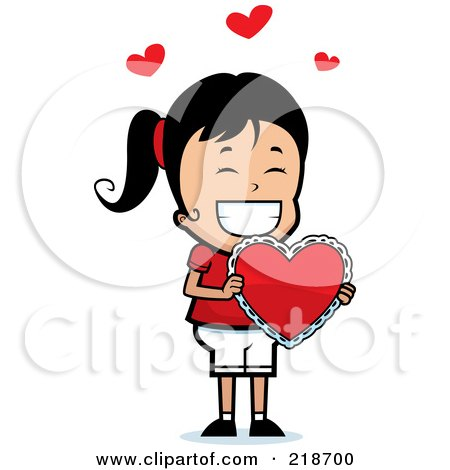 Royalty-Free (RF) Clipart Illustration of a Happy Girl Proudly Holding A Valentine Heart by Cory Thoman