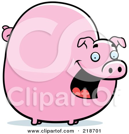Royalty-Free (RF) Clipart Illustration of a Chubby Pig Smiling by Cory Thoman