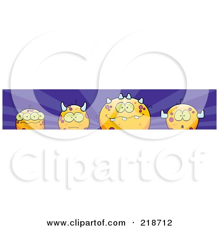 Royalty-Free (RF) Clipart Illustration of a Border Of Round Orange Monsters On Purple by Cory Thoman