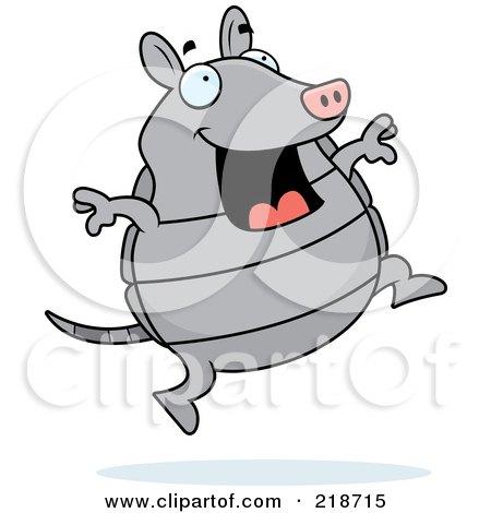 Royalty-Free (RF) Clipart Illustration of a Happy Gray Armadillo Jumping by Cory Thoman