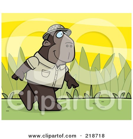 Royalty-Free (RF) Clipart Illustration of a Jungle Ape Walking In A Uniform by Cory Thoman