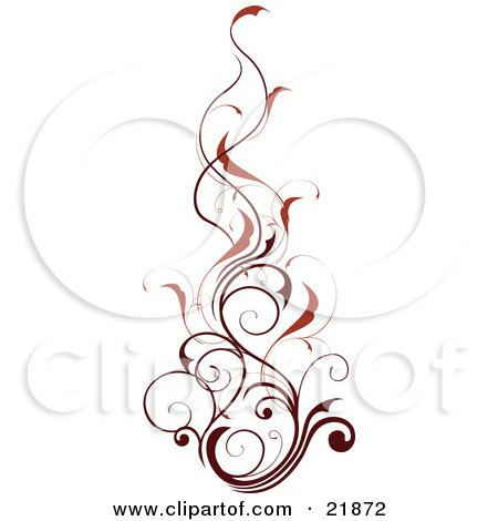 Vertical Red Vine With Dark Red Stems, Over White Posters, Art Prints