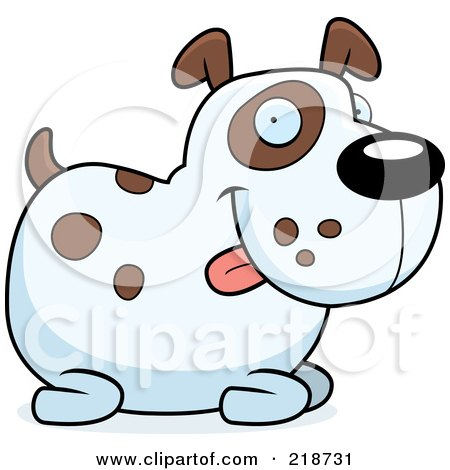 Royalty-Free (RF) Clipart Illustration of a Chubby Spotted Dog Sitting by Cory Thoman