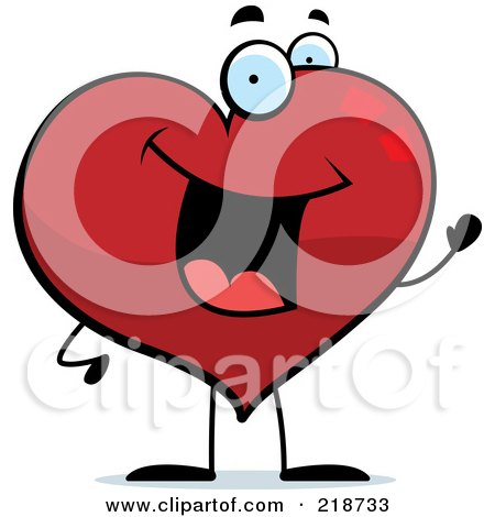 Royalty-Free (RF) Clipart Illustration of a Happy Heart Character Waving by Cory Thoman