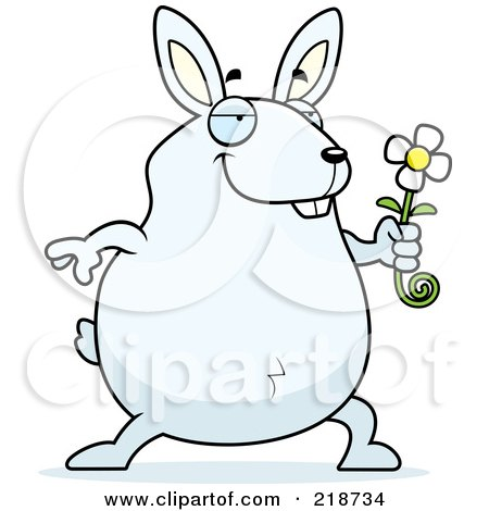 Royalty-Free (RF) Clipart Illustration of a Romantic Rabbit Presenting A Daisy For His Love by Cory Thoman