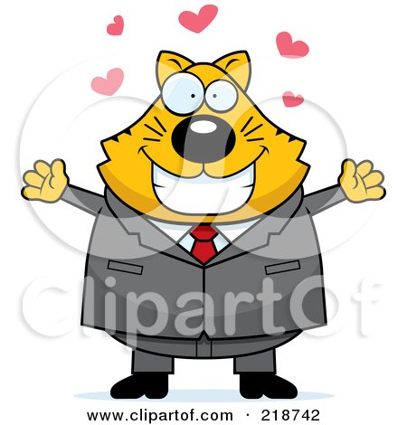 Royalty-Free (RF) Clipart Illustration of a Plump Business Cat Ready For A Hug by Cory Thoman