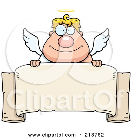 Royalty-Free (RF) Clipart Illustration of a Blond Male Angel Looking Over A Blank Banner by Cory Thoman