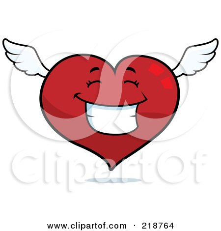 Royalty-Free (RF) Clipart Illustration of a Happy Winged Heart Character Smiling by Cory Thoman