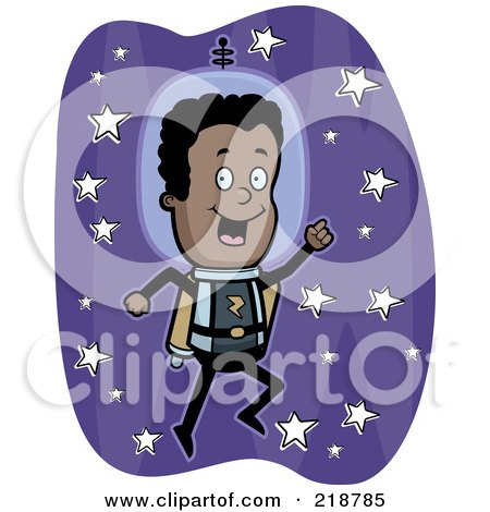 Royalty-Free (RF) Clipart Illustration of a Black Astronaut Using A Jet Pack by Cory Thoman