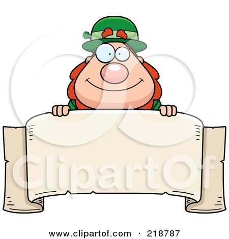 Royalty-Free (RF) Clipart Illustration of a Plump Leprechaun Looking Over A Blank Banner by Cory Thoman