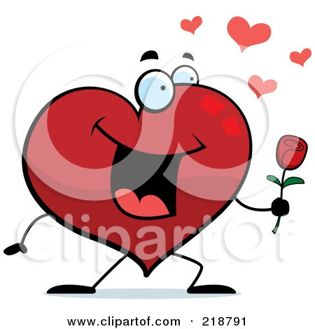 Royalty-Free (RF) Clipart Illustration of a Romantic Heart Character Giving A Rose by Cory Thoman
