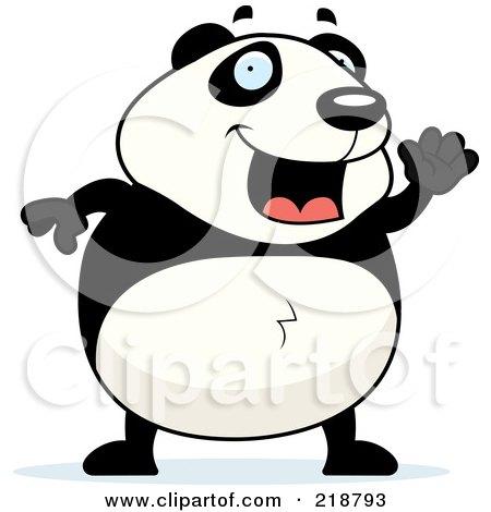 Royalty-Free (RF) Clipart Illustration of a Happy Panda Waving by Cory Thoman