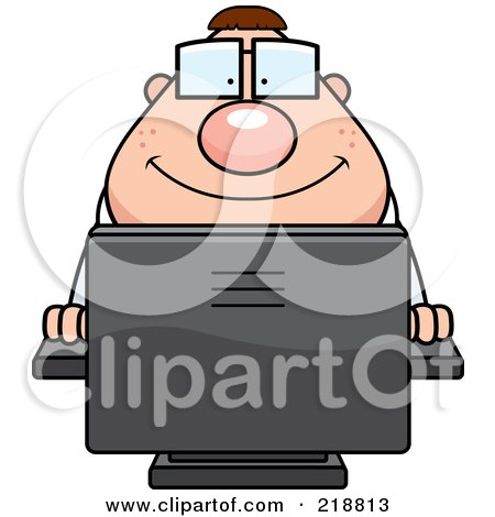 Royalty Free RF Clipart Illustration Of A Plump Computer Nerd Using A PC