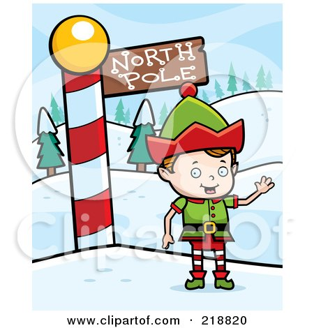 Royalty-Free (RF) Clipart Illustration of a Blond Christmas Elf Boy Waving By The North Pole by Cory Thoman