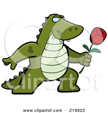 Royalty-Free (RF) Clipart Illustration of a Romantic Alligator Presenting A Red Rose For His Love by Cory Thoman